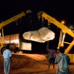 <b>A flying Stone lands on Matrimandir</b>