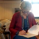 Irina Bokova giving her feed back on Matrimandir. Photo Andrea.
