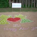 A welcome Kolam made by the students