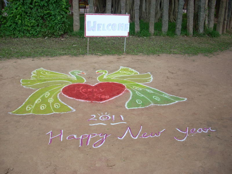 Photographer:Andrea | A welcome Kolam made by the students