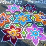 Street decoration to wish happy Pongal to everybody