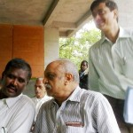 From left: Mr. Ramaswamy, Secretary of the Auroville Foundation: Mr. Sanjeev director of SAIIER: Mr. Srinivasamurthy FAO.