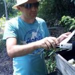Nicolas preparing to record the hive