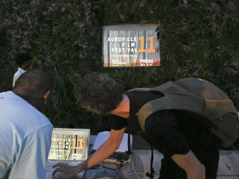 Photographer:Giorgio   Sasi (Left) and Christoph preparing the screening of the short clips