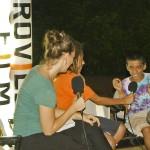Chloe' & Antonio interviewing Bhavyo. Antonio and Bhavyo sent 3 short movies at the Auroville Film Festival 2011.