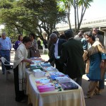 Tea break with books from Auroville