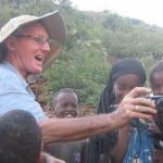 Joss with village children