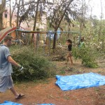 Cleaning up the Isai Ambalam School compound