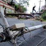 Cyclone damaged electrical poles
