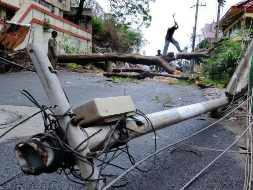 Photographer:web | Cyclone damaged electrical poles