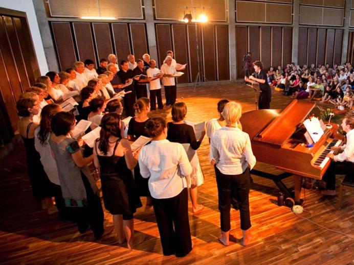 Photographer:Andrea | Nuria rehearsing with Auroville Choir