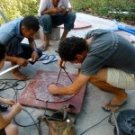 the team works on building a homemade wind turbine