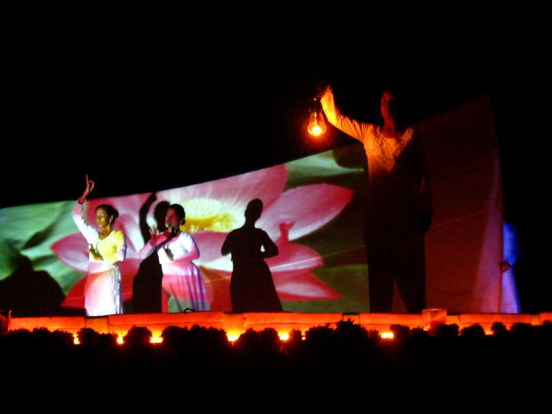 Photographer:Maria | Frame of the performance with flowers projections
