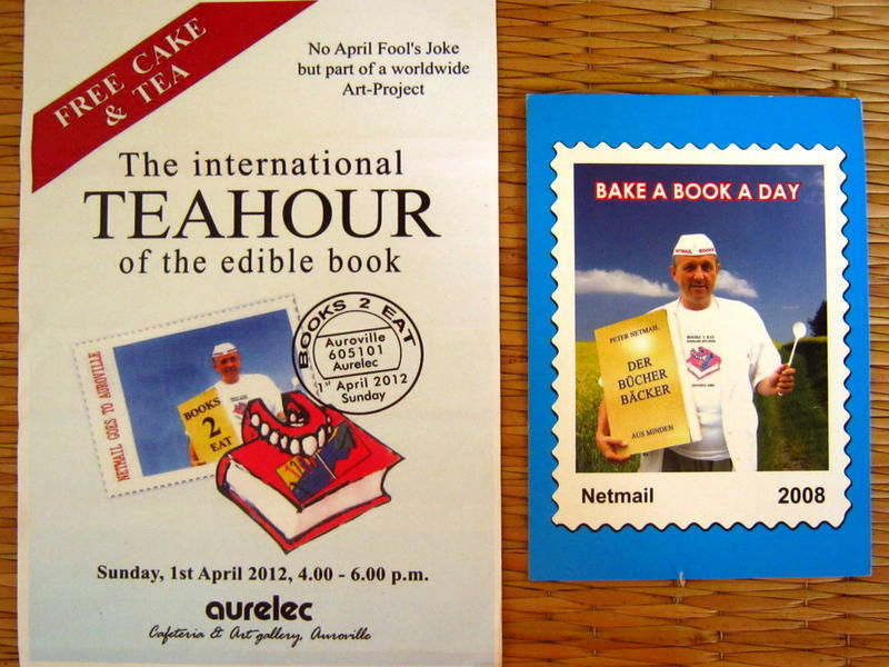 Photographer:Maria   Posters of the International Teahour of the Edible Book and the MailArt exhibition Bake a Book a Day