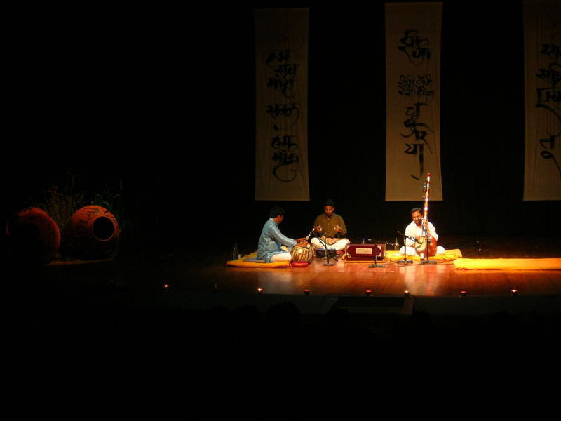 Photographer:Maria   Hemant Chauhan Trio on stage at Sri Aurobindo Auditorium<br />