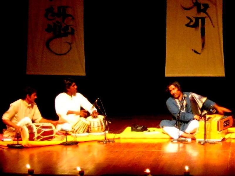 Photographer:Maria | Mukhtyar Ali playing harmonium with the drumers
