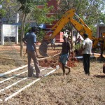 The removed gate at the Auroville Foundation was donated to a school by the Secretary.