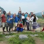 This autumn's student group having fun in Tiruvanamalai.