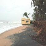 Beach erosion at Repos Community. The Cyclone made this problem worse.<br />