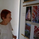 Paulettte working on exhibition at Town Hall