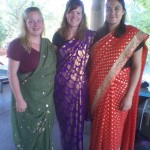 The girl showing their new sari's