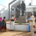 Homage at Sri Aurobindo statue