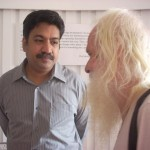 Dr. Rengaraj Venkatesh talking to Martin, a long time resident of Auroville.