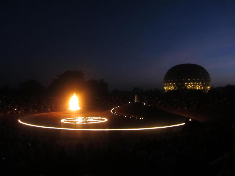 Photographer:web | Bonfire at Matrimandir Amphitheater