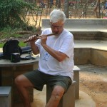 Gordon playing flute