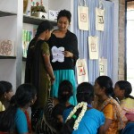 Krupa teaches art therapy to the girls.