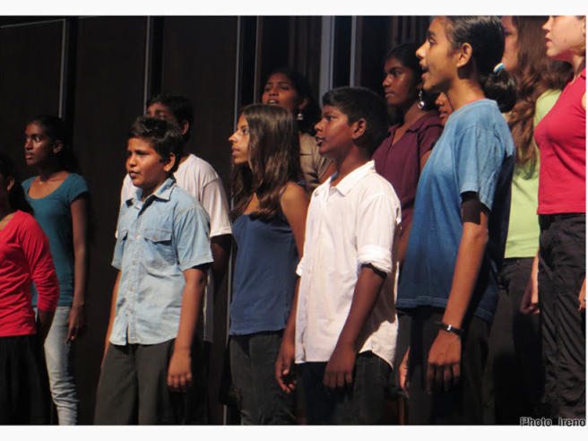 Photographer:Ireno Guerci | All the choir members are attending the Auroville's schools