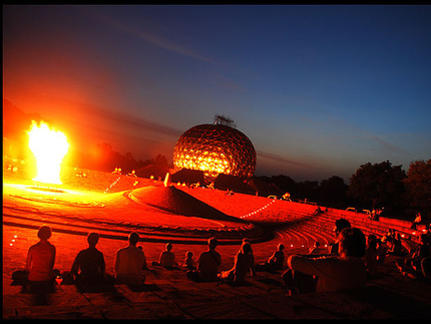 Photographer:web | Bonfire at Matrimandir Amphitheater on 15th at 5.15am