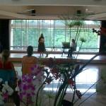 Flower arrangements liven Unity Pavilion.