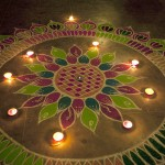 Rangoli decorations, made using coloured powder, are popular during Diwali.