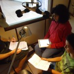Ahelia, Jesse and Yam recording the audio version of the Water book (AV radio)