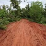 Muddy road in Auroville after rain in monsoon season