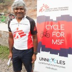 Dr Unni Karunakara after a great long ride with 200 cycling supporters