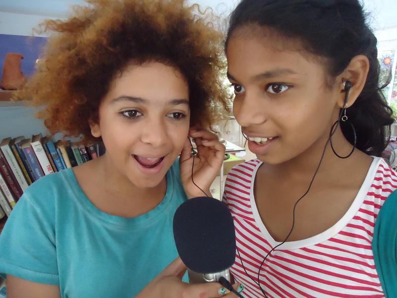 Photographer:Sandrine | Hannah and Meera singing, Deepanam school
