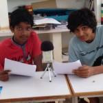 Sai and Atman recording at Deepanam school