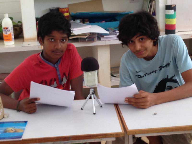 Photographer:Sandrine | Sai and Atman recording at Deepanam school