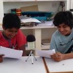 Sai and Atman recording at Deepanam school 2