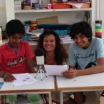 Sai, Atman and Sandrine rehearsal at Deepanam School