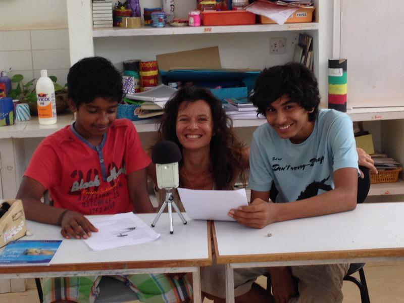 Photographer:Sandrine | Sai, Atman and Sandrine rehearsal at Deepanam School