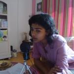 Ahilya recording at Sandrine's house