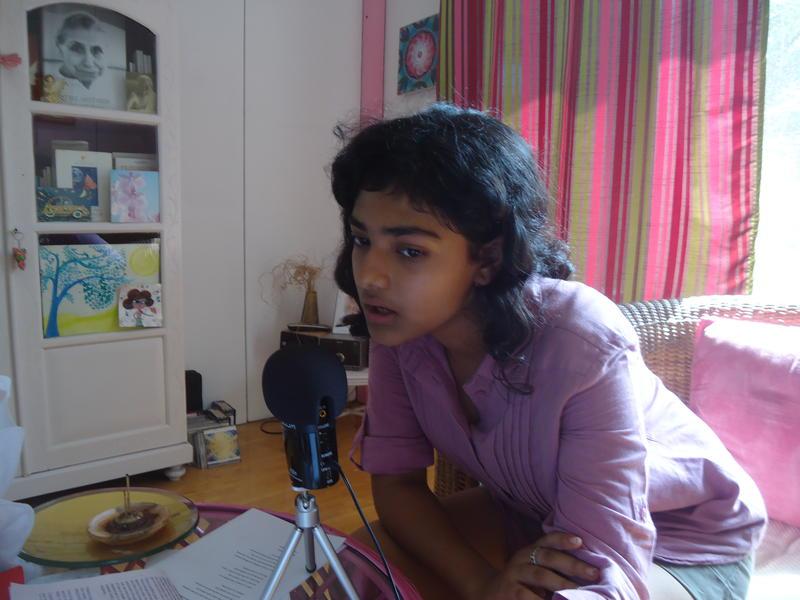 Photographer:Sandrine | Ahilya recording at Sandrine's house