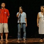 From Right: Amu, Heyong and their mum singing a Korean song.