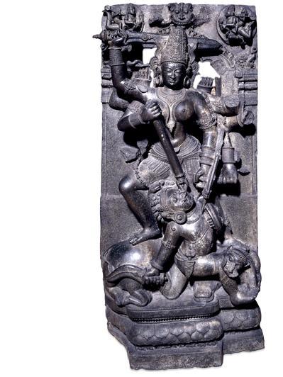 Photographer:Courtesy:http://www.britishmuseum.org/ | Stone Durga Mahishasuramardini Orissa, eastern India, 13th century AD