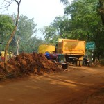 fixing the stretch of road toward Verite and Ganesh Bakery