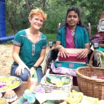 Deepam stand with Hanna volunteer from Germany. At her left Gayatri.