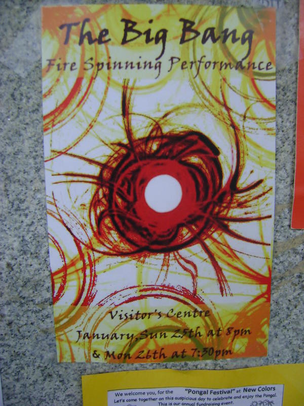 Photographer:Alma   The Big Bang fire spinning performance Sunday and Monday at Visitor Centre